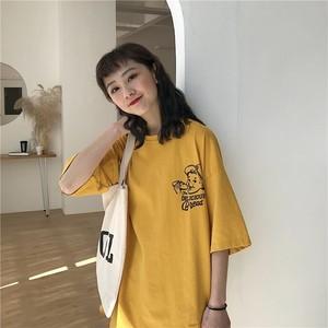 【トップス】シンプルゆったりアルファベットラウンドネック春夏Tシャツ