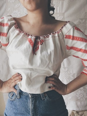 Antique Strip Linen Blouse