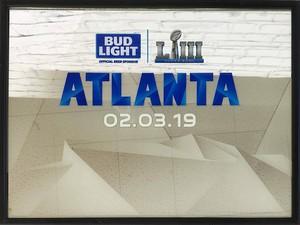 品番0088 パブミラー 『BUD LIGHT SUPER BOWL LIII ATLANTA 02.03.19』 壁掛 ディスプレイ アメリカン雑貨