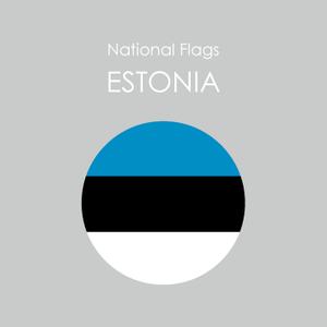 円形国旗ステッカー「エストニア」