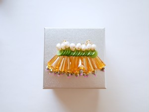【イヤリング】フリンジキャンディ・黄緑×オレンジ