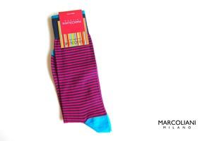 マリコリアーニ|marcoliani|ピマコットンクルー丈ボーダーソックス|Palio Stripe|033 Fuchsia
