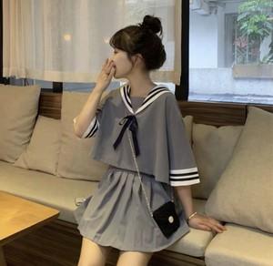 08081 レディースファッション セットアップ セーラー風 カットソー Tシャツ ミニスカート 2019新作