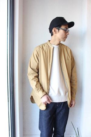 A Vontade(アボンタージ)/ Banded Collar Shirts(バンドカラーシャツ)ベージュ(無地)