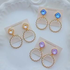 feminine color pearl pierce/earring