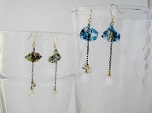 パンジーと小さな花柄のPetalピアス。(Small flowers/Blue pansy)
