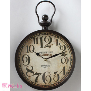 壁掛け時計 ウォールクロック レトロ アンティーク調 茶 おしゃれ 雑貨