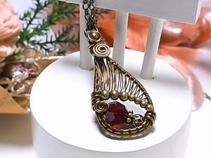 スワロフスキー 雫のワイヤーラッピング ロングネックレス(160224 siam&Antique Brass)