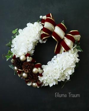 ★Blume Traum★クリスマスリースno2,、送料無料、アーティフィシャルフラワー、お祝い、お歳暮にも!