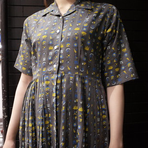 【SALE】50's style western patterned shirts dress 総柄シャツワンピース