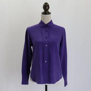 Ladies【Coldwater Creek】Silk Blouse purple レディース ラウンドカラー シルクブラウス