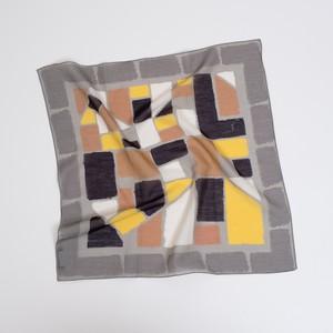 Silk Cotton 'Winchester' grey リング付きミニスカーフ