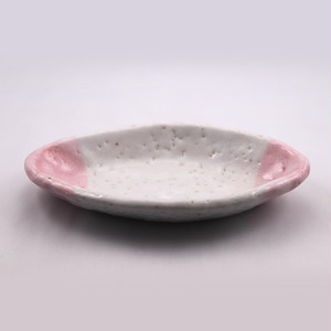 桃志野 楕円皿 小  Pink Shino Elliptical Dish SMALL