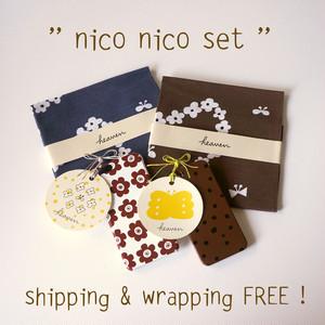 < 送料無料ギフトセット > nico nico set ( humming heart & anamone & fuwa fuwa dot )- てぬぐい2枚 / スマホケース 2点【受注生産】