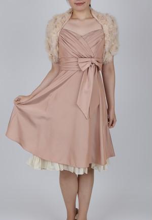 【USED】ウエストリボンがキュート!パステルピンクドレス、謝恩会・二次会パーティーなどに♪ ピンクベージュのファーストール