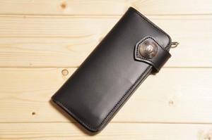 TW-1 50セントコンチョ付き本革バイカーウォレット ブラック 黒 ヘビータンニンレザー製 メンズ 財布 サイフ 長財布 ロングウォレット