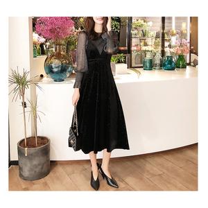ベロア シースルー キャミ ワンピース ドレス
