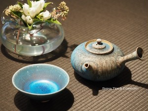 Yamada Sou Blue Wood Fired Tokoname White Clay Teapot
