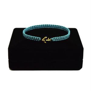 【2021SS 期間限定カラー】K18 Gold Anchor Bracelet / Anklet  DustyTurquoise×Black【品番 17S2010】