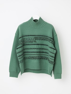 【COOHEM  WOMEN】SOLID TWEEDY KNIT PULLOVER