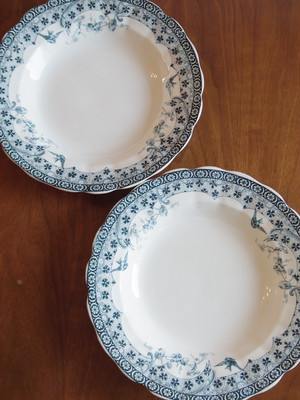 フランスアンティークプレート 皿 青い柄2枚セット