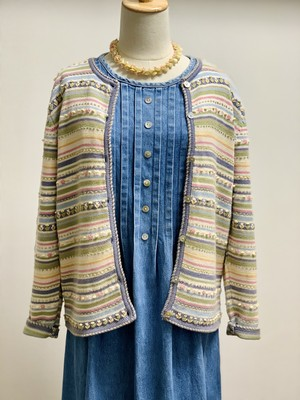 Vintage Spring Color Cotton Knit Cardigan