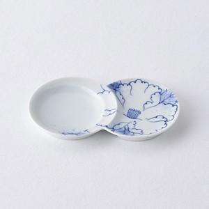 吹き牡丹・青 小分け豆皿