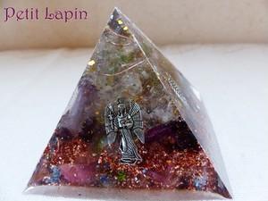 MT様ご予約 ピラミッド型オルゴナイト+ライト付台座(ピンク)(宅配送料込)