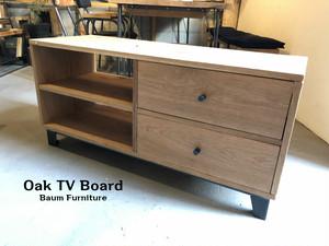 ホワイトオーク テレビボード 引き出し付 アイアン脚 [Oak TV Board]
