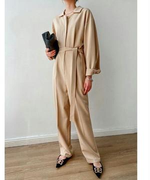 エクリュカラーシンプルジャンプスーツ