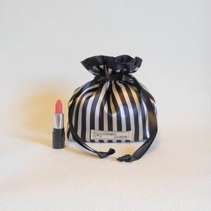 自分へのご褒美に♡ vertical stripes drawstring pouch①black ribbon