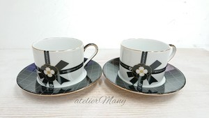モノトーンのカップ&ソーサー(2客セット)