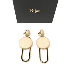Bijou R.I - Clip & Circle Earring (Beige) -