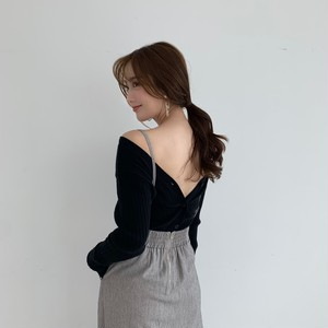 2way rib cardigan / black (即納)