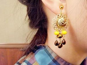 pierce/earring ゴールドxイエロー