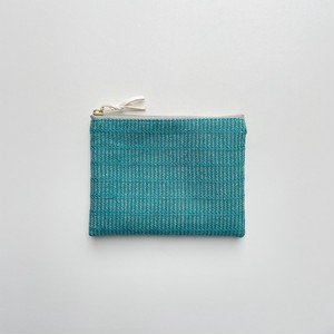手織りミニポーチ(Accessory case 14cm  Turquoise blue Alinea)