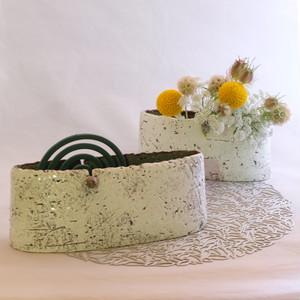 白泥彩 蚊遣り花器