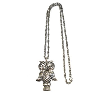 Reed & Barton 70's Vintage Sterling Silver Owl Whistle Necklace