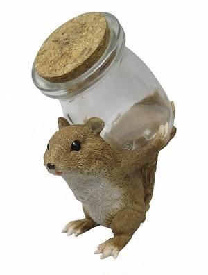 キュートなリスの小物入れ☆コルク付きガラス瓶