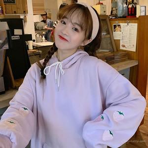【トップス】秋冬スウィート清新フード付きフルーツ刺繍パーカー