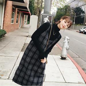 【セット】ハイネックセーターチェック柄サスペンダースカートセット