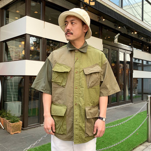 Nigel Cabourn DESERT ARMY SHIRT - SHORT SLEEVE, MIX FABRIC