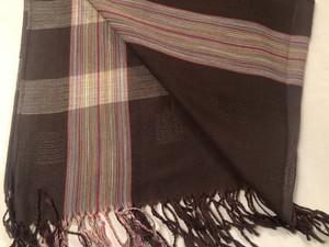 ミャンマー・モン族の手織り大判ショール(茶色系)