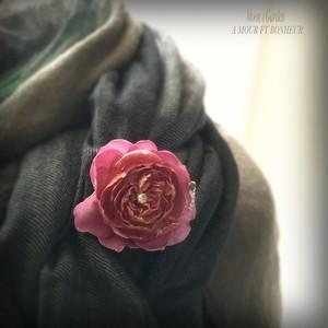 ブローチ 薔薇『クロード・モネ』エレガントな大人のスカーフピン&ブローチ【serial number0122】