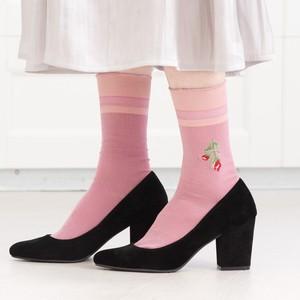 【RORO】cut flower / バラ刺繍・ソックス(pink)