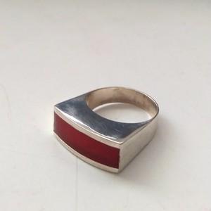 シルバー925 赤い長方形 デザインリング