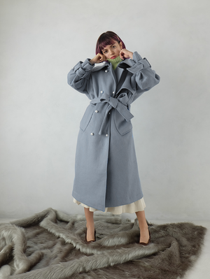 back fastener wool trench(blue gray)