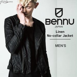 【BENNU】Linen No-collar Jacket/ブラック/メンズ