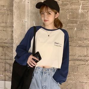 【トップス】ドルマンスリーブラウンドネックプルオーバーアルファベットTシャツ