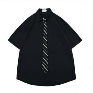 送料無料メンズ/白/黒/レジメンタルストライプ/ネクタイ風/半袖シャツ